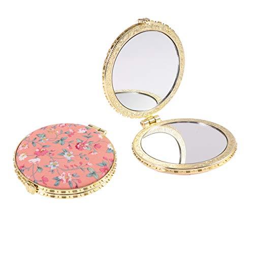 Garneck 2 Stücke Tragbarer Taschenspiegel Zweiseitiger Kosmetikspiegel Rosa Klein Kosmetikspiegel Zweiseitiger Klappbarer Schminkspiegel, Orange