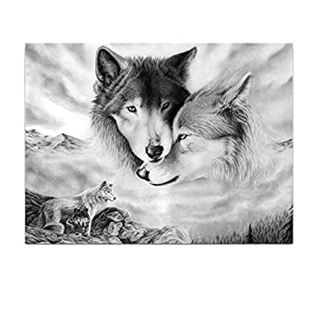 16x24Inches/40 x60CM Wolf Wall Art Canvas Print Poster for Bedroom Living Room Office Minimalist Black and White Sketch Abstract Sketch Art Paintings for Office Home Decoration  Unframed