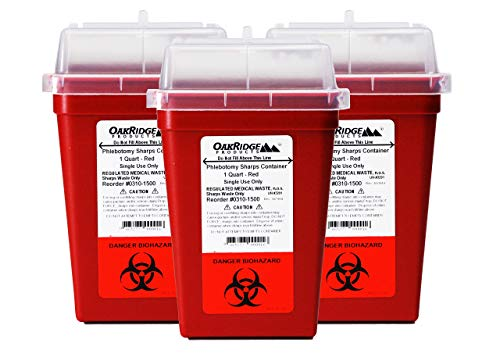 OakRidge Products 1 Quart Size (Pack of 3) Sharps Disposal Container - Approved for Home and Professional use