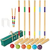 8. ApudArmis 35In Six Player Croquet Set with Deluxe Premiun Pine Wooden Mallets,Colored Ball,Wickets,Stakes - Lawn Backyard Game Set for Adults/Teens/Family (Large Carry Bag Including)