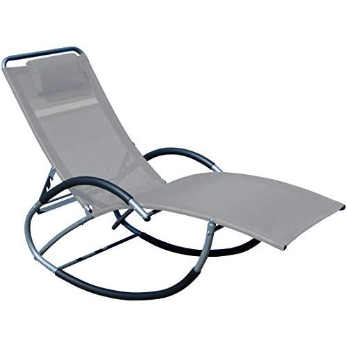 ASS Liegestuhl Schwingstuhl Schaukelstuhl Schaukelliegestuhl mit atmungsaktiven Kunststoffgewebe Rückenlehne verstellbar + Kopfpolster...