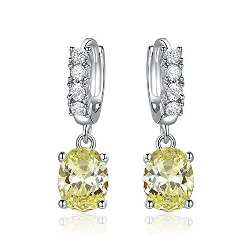 Daesar 925 Silver Earrings for Women Wedding Drop Earrings Oval With 4-Prong Yellow Cubic Zirconia Dangle Earrings Yellow