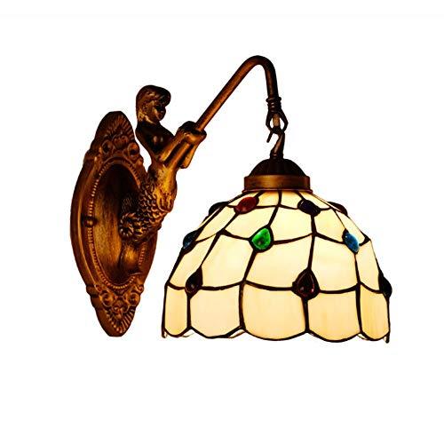 Bloomingtulipszz Tiffany-Stil Bar Wandleuchte Und Flur Lampe E27 Glasmalerei Wohnzimmer Schlafzimmer Lampe Gelb Kunst Licht 20 cm, 23 cm (gelb) (Energieklasse A)