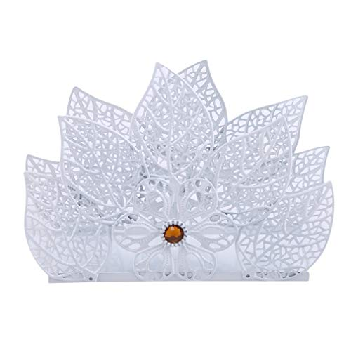 SUNSKYOO Serviettenhalter Metall hohl Schmetterling Blätter Blume Home Esstisch Decor Serviettenhalter, EIN spitzes Blatt