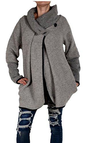Italy Donna dames lagenlook wol poncho ballon jas blazer winter overgang trui gebreid vest 36 38 40 42 44 S M L XL grijs kort mantel