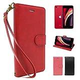 シズカウィル(shizukawill) iPhone8 iPhone7 iPhoneSE(第2世代)手帳型 赤色 PUレザー レッ……