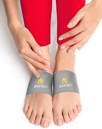 Sparthos Plantar Fasciitis Support - Arch Compression Sleeve - Foot Feet Brace, Ankle Pain Relief, Night Splint - Shoe Boot Sandals Insert Inserts Insoles - Mens and Womens (Gray-S)