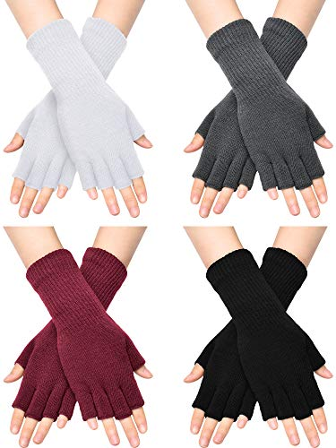 Unisex Half Finger Gloves Winter Stretchy Knit Fingerless Typing Gloves (Black, White, Dark Grey, Wine Red, 4)