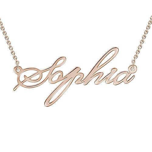 SOUFEEL Collar Plata de Ley Colgante con Nombre Personalizados Regalo para Familia Aniversario Novia Cadena Ajustable Chapado Oro Rosa