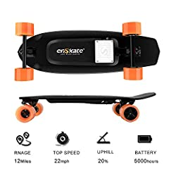 Specification: Max range of 12 miles, top speed 22mph, uphill 20%, 90mm high elastic wheels, precision forged trucks of lower gravity, compose decks of 8 layers maples, best controllable 2.4Ghz remote controller Perfect and Smooth Riding: high durabi...
