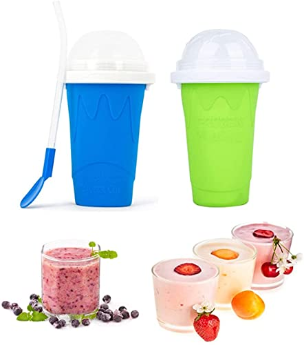 Slushie Maker Cup Squeeze, Slushie Maker for Kids Cup, Squeeze Cup Slushy Maker, TIK TOK Magic Quick Frozen Smoothies Cup Double Layer Cupfor Kids and Family-Blue+Green
