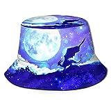 Night Sky Sky Fantasy Moon Dragon Sombrero de Pescador Verano Protección UV Sombreros de Cubo de Viaje Gorra de Sol Plegable de Playa para Hombres y Mujeres-OQ