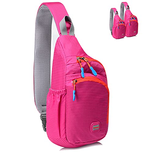 Lecxci Small Sling Backpack Waterproof Unisex Shoulder Bag Chest Crossbody Daypack (Rose Red)