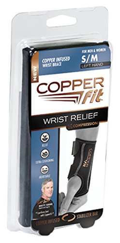 Copper Fit Compression Wrist Sleeve, Small/Medium, Left Hand