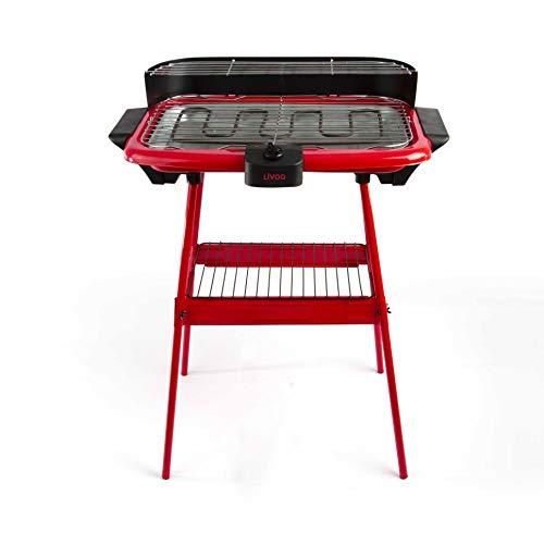 LIVOO DOM297R Barbecue Électrique sur Pieds, Rouge, Rouge/Noir