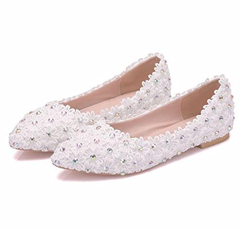 Zapatos Boda Mujeres,Decoración Rhinestone Encaje Zapatos Novia Planos Talla Grande,Zapatos Dama Honor...