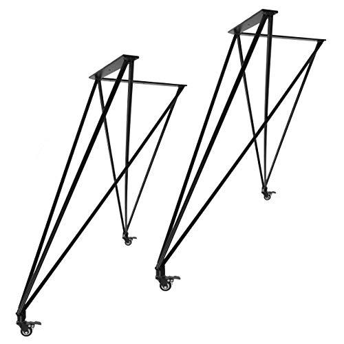 Juego de 2 patas de mesa Natural Goods Berlin, de acero de 12 mm, para mesa de comedor, escritorio, banco, mesa de café, negro, blanco (altura de 79 cm (escritorio con ruedas), color negro