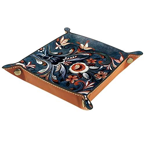 Bandeja de escritorio de piel de microfibra de estilo folk de Norwegian, práctica caja de almacenamiento para carteras, llaves y equipos de oficina, caja de almacenamiento de gafas