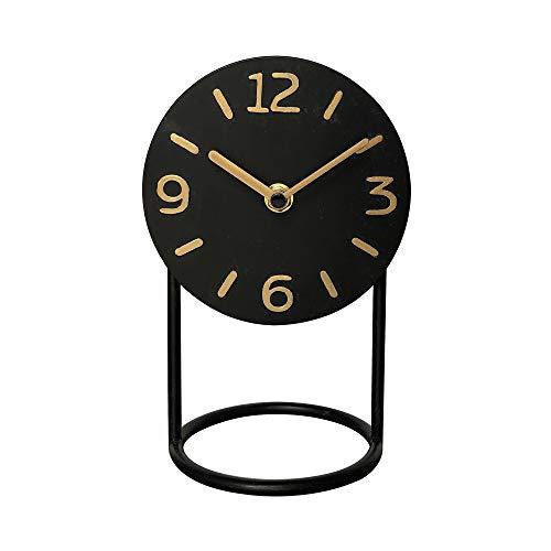 NIKKY HOME Orologio da Tavolo in Ferro Silenzioso con Base Senza ticchettio per Soggiorno Decorazione Camera da Letto 13 x 11 x 20 cm Nero