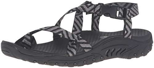 Skechers Women's Reggae-Haystack Toe Ring Sandal,Black/Grey,10 M US