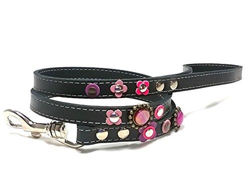 Superpipapo Leder Hundeleine in Style, Handmade Schwarz Design, 1m und 8 cm, (108 cm), Bling Rosa Lila Violett Glitzer Strass Schmuck Steine