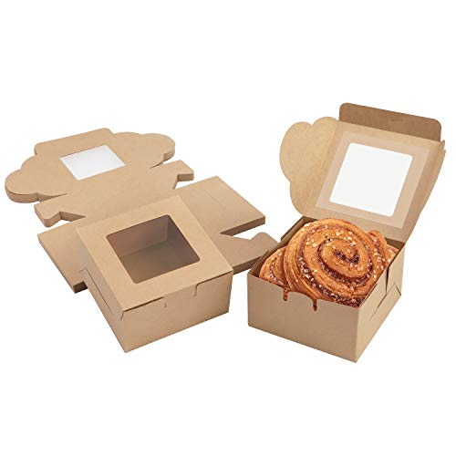 Belle Vous Braune Kraftpapier Geschenkboxen für Gebäck mit Sichtfenster (50Stk) – 10,16x10,16x5,7cm Karton Box Verpackung – Cupcake Schachtel Einweg Pappschachtel für Kekse, Kuchen, Dessert, Geschenke