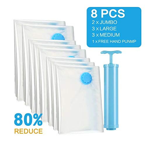 ddbanner Reusable Vacuum Storage Bags Jumbo 8 Pack Space Saver Compression Bags,Save 80 More Storage Space Double Zip Seal Leak Valve Travel Hand Pump Included