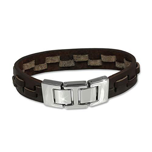 SilberDream Leder Armband Zierkordeln Herren Männer Armschmuck braun D2LAP002B EIN schönes Geschenk zu Weihnachten, Geburtstag, Valentinstag für den Mann