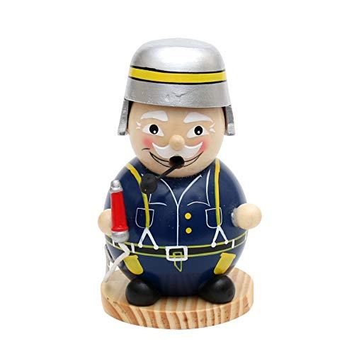 Dekohelden24 Kugelige Räucherfigur, ca. 15 cm als lustiger Feuerwehrmann