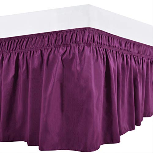 Biscaynebay Wrap Around Bed Skirts Elastic Dust Ruffles, Easy Fit Wrinkle Resistant Silky Luxrious Fabric, Warm Purple (Eggplant) for Queen Size Beds 15 Inches Drop