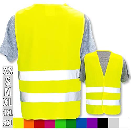 Hochwertige Warnweste mit Leuchtstreifen * Bedruckt mit Name Text Bild Logo Firma * personalisiertes Design selbst gestalten, Druckposition:OHNE Druck, Farbe Warnweste:Gelb (5XL)