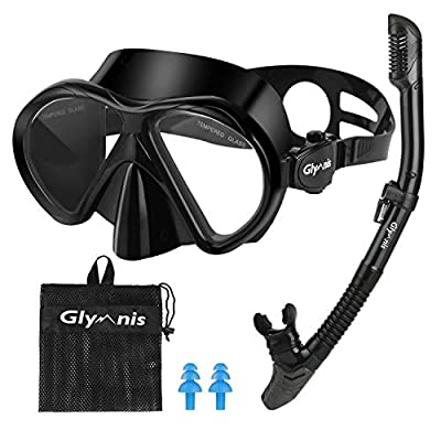 Glymnis Snorkeling Package Set for Adults Anti-Fog Coated Glass Diving Mask Snorkel with Silicon Mouth Piece Purge Valve and Anti-Splash Guard (Black)