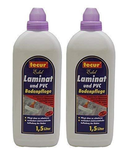 2 x 1,5L tecur Edel Laminat und PVC Bodenpflege, Laminatpflege Laminatreiniger