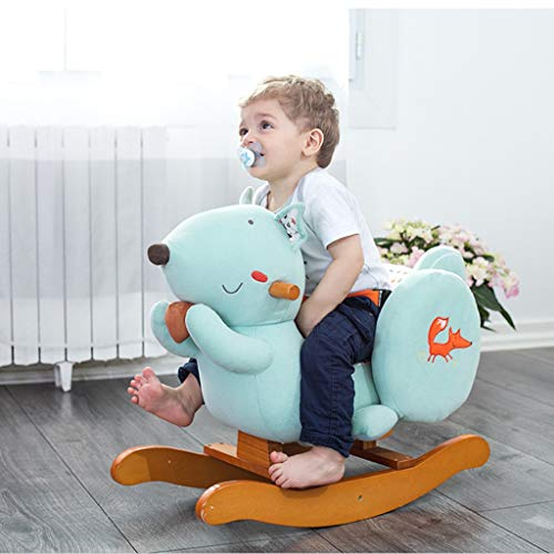 Check Out This FJH Rocking Horses Baby Rocking Horse Can Play 47 Music Solid Wood Floor Blue Rocking...