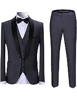 Boyland Men's 3 Pieces Suit Shawl Lapel Tuxedo Suits One Button Tux Jacket Vest Trousers Dinner Wedding Gray