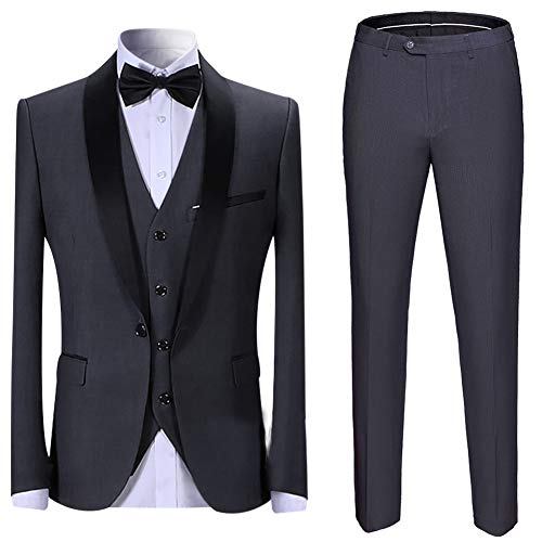 Abito da Uomo 3 Pezzi Slim Fit Abiti da Pranzo Nero Rosso Blu Formale Giacca da Smoking da Uomo Giacca Gilet Pantaloni