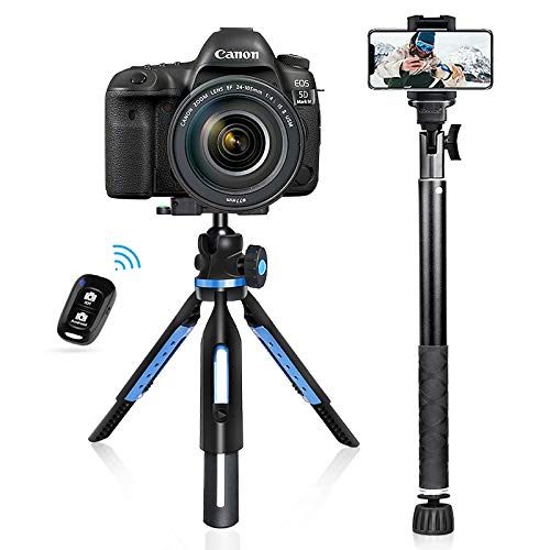 UBeesize Tripod Monopod Combo, Extendable Tabletop Tripod Stand with Selfie Stick Monopod & Bluetooth Remote.