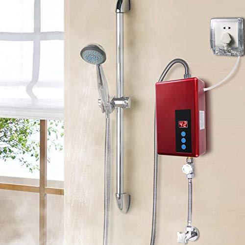 Sxhlseller Scaldabagno Elettrico istantaneo, Riscaldamento immediato, Dispositivo di Protezione dalle perdite Incorporato, Protezione di Isolamento idroelettrico(Red)