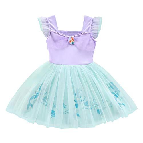 Lito Angels Deguisement Robe Tulle Petite Sirène Princesse Ariel Enfant Fille, Anniversaire Fete Carnaval Vetement Ete, Taille 12-18 mois 265
