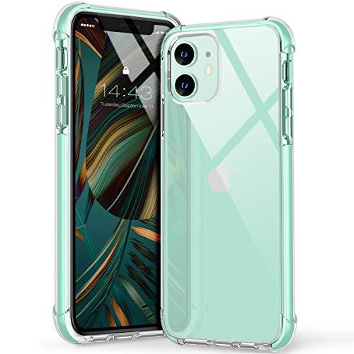 MATEPROX Cover iPhone 11 Custodia iPhone 11 Cristallo Chiaro Case Antiurto Anti Graffio Anti Giallo Morbida Protettivo Cover per iPhone 11 6.1''-Verde