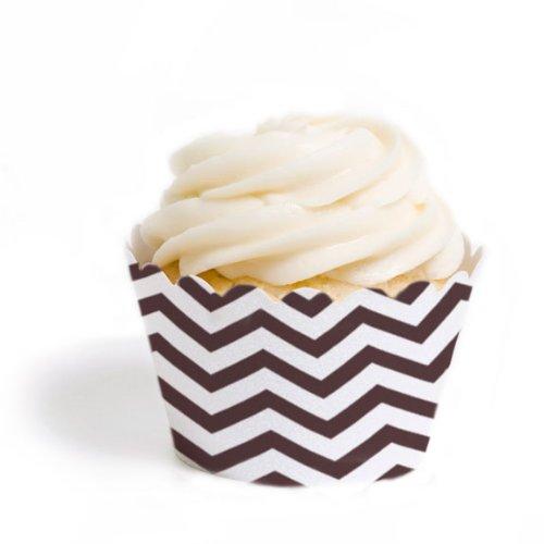 Dress My Cupcake Lot de 18 mini caissettes à cupcakes Chevrons Marron