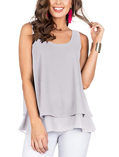 Floral Find Women's Chiffon Layered Tank Tops Summer Sleeveless Round Neck Blouses Shirts (Large, A-Gray)