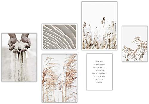 ELAFI® Premium Poster 6er Set | Stilvolle Dekoration mit passendem Bilder Set als Wohnzimmer Deko | DIN A3 & DIN A4 ohne Bilderrahmen | Kunstdruck Blätter (Dry Beauty)