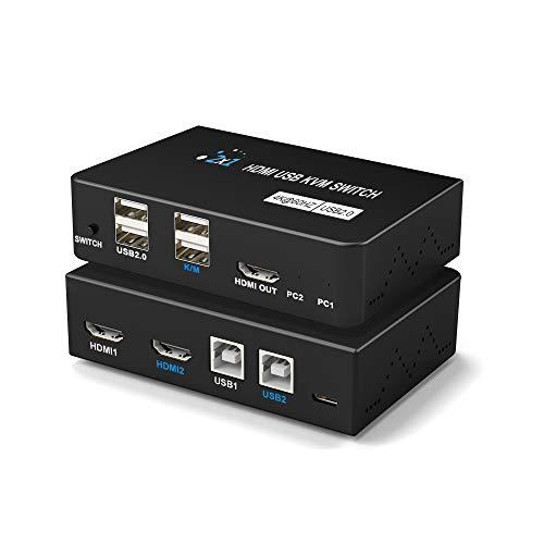 Switch KVM 4K, Conmutador KVM USB HDMI 2 en 1 para 1 juego de Teclado, Mouse, Monitor, Control de Impresora 2 PC, Soporte 4K @60Hz para Laptop, PC, PS4, XBox HDTV, con 2 línea USB, 1 Controlador