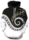 Ocean Plus Uomo Stampa Animali Felpa con Cappuccio Manica Lunga Galassia Motivo Natale Maglieria Cranio Halloween Abbigliamento specifico Felpa (L/XL (Torace: 114-134CM), Riduzione per Pianoforte)