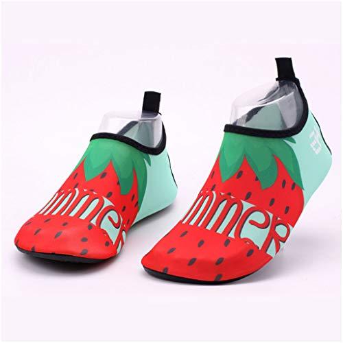 Calzado Para Niños Calzado De Playa Para Niños Calzado Interior De Piso Suave Para Bebés Calcetines De Natación Para Esnórquel De Surf Calcetines Antidesli(Size:32-33(18cm-19cm),Color:Rojo fresa)