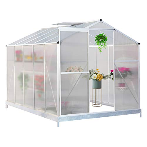 FIDOOVIVIA Polycarbonate Garden Greenhouse Rustproof Aluminum Frame Growhouse Sun Room for Plants Vegetable Garden & Outdoor with Window, Sliding Door and foundation(8 Ft x 6 Ft, Transprant)