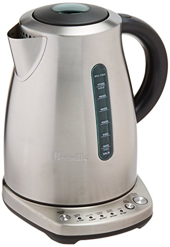 "Breville BKE720BSS The Temp Select Electric Kettle, Silver, Dimensions:(LxWxH) 8 ¾ "" x 7 ¼"" x 10 ½"" (BKE720BSSUSC)"