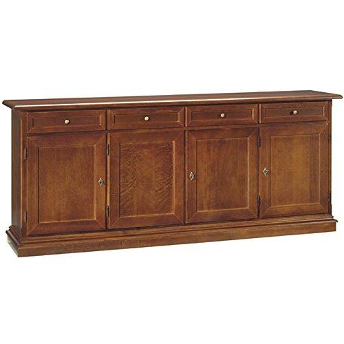 Credenza, stile classico, in legno massello e mdf con rifinitura in noce lucido - Mis. 205 x 42 x 85