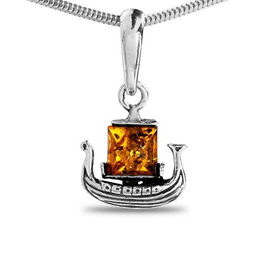 Wikingerschmuck Bernstein Kelten Wikinger Herren-Halskette mit Anhänger 925 Silber Kette Schiff Boot Herren Schmuck #166